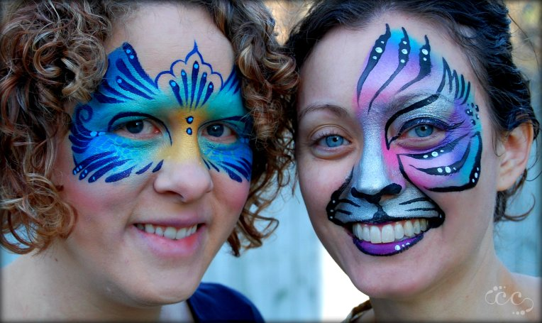 Nicole and Rachel first face paintings 4-2-16